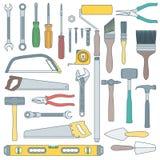 Färben Sie Entwurf, den verschiedenes Haus die eingestellten Instrumente umgestalten stock abbildung