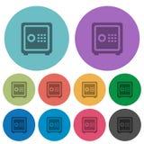 Färben Sie flache Ikonen des Geldschranks Stockbilder