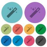 Färben Sie flache Ikonen des magischen Stabs Lizenzfreie Stockbilder