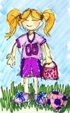 Färben Sie Fußball-Fußballspieler des kleinen Mädchens mit Farben ein lizenzfreie abbildung