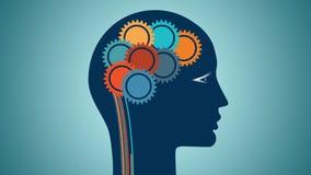 Färben Sie Gangräder in Form von dem Gehirn, rationale denkende Leute des Konzeptes vektor abbildung