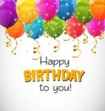 Färben Sie glatte alles- Gute zum Geburtstagballon-Fahnen-Hintergrund-Vektor-Illustration Stockfotos