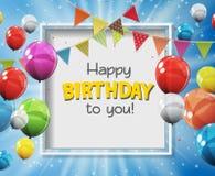 Färben Sie glatte alles- Gute zum Geburtstagballon-Fahnen-Hintergrund-Vektor-Illustration Stockbilder