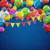 Färben Sie glatte alles- Gute zum Geburtstagballon-Fahnen-Hintergrund-Vektor-Illustration Lizenzfreies Stockbild