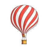 Färben Sie Heißluftballon lokalisiert auf weißem Hintergrund für Reisebüro, Motivation, wirtschaftliche Entwicklung, Grußkarte Stockfotografie