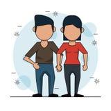 Färben Sie Hintergrund mit gesichtslosen Paaren in der zufälligen Kleidung und im Händchenhalten vektor abbildung