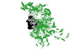 Färben Sie Hintergrund mit Kopf einer natürlichen Nymphe Lizenzfreies Stockfoto