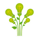 färben Sie Hintergrund mit Satz Birnenlicht mit Stamm und Blättern stock abbildung