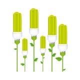 färben Sie Hintergrund mit Satz der Leuchtstofflampe mit Stamm und Blättern vektor abbildung