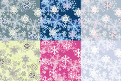 Färben Sie nahtlose Muster der Optionen von den Schneeflocken Stockfotos