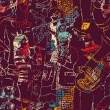 Färben Sie nahtloses Muster der Musikjazzband lizenzfreie abbildung
