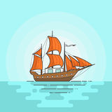 Färben Sie Schiff mit orange Segeln im Meer Segelboot auf Wellen für Reise, Tourismus, Reisebüro, Hotels, Ferienkarte, Fahne Lizenzfreies Stockfoto