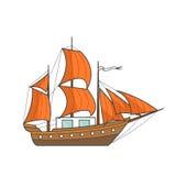 Färben Sie Schiff mit orange Segeln im Meer Segelboot auf Wellen für Reise, Tourismus, Reisebüro, Hotels, Ferienkarte, Fahne Stockfotos