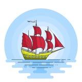 Färben Sie Schiff mit roten Segeln im Meer Segelboot auf Wellen für Reise, Tourismus, Reisebüro, Hotels, Ferienkarte, Fahne Lizenzfreies Stockfoto