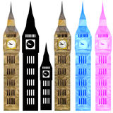 Färben Sie Vektor Big Ben in niedrigem Poly stock abbildung
