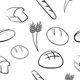 Färben Sie von Hand gezeichnetes nahtloses Muster mit Brot Lizenzfreies Stockbild