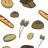 Färben Sie von Hand gezeichnetes nahtloses Muster mit Brot Lizenzfreies Stockfoto