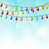 Färben Sie Weihnachtsglühlampen Stockfoto