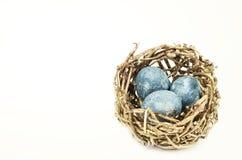 Färben Sie Weinleseeier im Nest, das auf Weiß lokalisiert wird Stockbilder