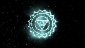 Färben Sie Yoga chakra Symbol, das für Design, Kehle-chakra groß ist