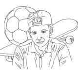 Färbend, personifizierte lineare Zeichnung, Junge, Jugendlicher, Skateboard, Fußball, Hobby, Porträt, Porträt, für die Färbung, n lizenzfreie stockfotografie