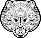 Färbende antistress Seite Wilder Bär wird eigenhändig mit i gezeichnet Stockbilder