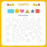 Färbende mehrfache Formen Lernen Sie Formen und geometrische Zahlen Vorschule oder Kindergartenarbeitsblatt für übende Bewegungsf Stockbilder
