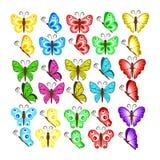Färbt Schmetterlinge lokalisiert auf weißem Hintergrund Hübscher Vektor b vektor abbildung