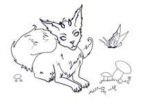 Färbung des magischen Fox mit Hörnern vektor abbildung
