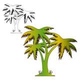 Färbung drei Palmen, zeichnend auf weißen Hintergrund, Stockbild
