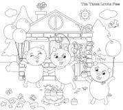 Färbung von drei kleinen Schweinen 12: glückliches Ende Stockfotografie