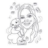 Färbungs, lineare Zeichnung, Mädchen mit einem Hund, Porträt, für die Färbung, nette Zeichnung, schönes junges Mädchen und einen  stockbilder