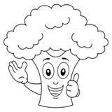 Färbungslächelnde Brokkoli-Zeichentrickfilm-Figur Stockbild