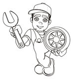 Färbungslächelnder Mechaniker lizenzfreie abbildung