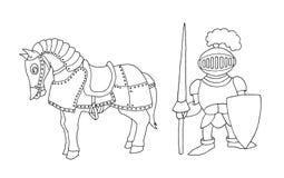 Färbungsseite des mittelalterlichen Ritters der Karikatur, der prepering ist, um Tournament zu adeln lizenzfreie stockfotografie