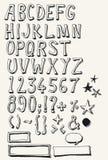 Färdig alfabetuppsättning för klotter stock illustrationer