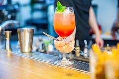 Färdig bartender dekorera hans coctail med mintkaramellen royaltyfri fotografi