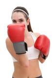Färdig brunett i boxninghandskar Arkivbilder