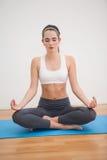 Färdig brunett som hemma gör yoga Royaltyfri Fotografi