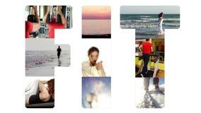 Färdig collage på vit stock video