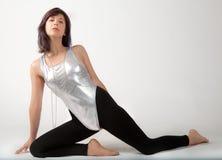 Färdig kvinna i body och damasker Royaltyfri Foto