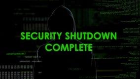 Färdig säkerhetsavstängning, cyberattack på systemet för nationellt försvar, terrorism arkivfilmer