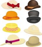 Färdig set av hattar Arkivfoton