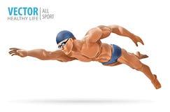 Färdig simmareutbildning i simbassängen Yrkesmässig manlig simmare inom simbassäng Fjärilsslaglängd En man dyker royaltyfri illustrationer