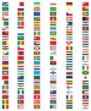 Färdig uppsättning av flaggor av världen Royaltyfria Bilder