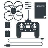 Färdig uppsättning för quadrocopter Plana symboler Royaltyfria Bilder