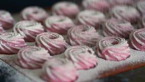 Färdiga rosa marshmallower som strilas med pulver för vitt socker arkivfilmer