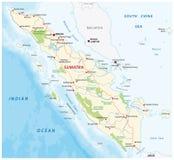 Färdplan av den indonesiska ön sumatra stock illustrationer