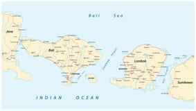 Färdplan av indones Lesser Sunda Islands Bali och Lombok stock illustrationer