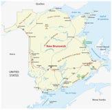 Färdplan av Kanada det atlantiska landskapet New Brunswick stock illustrationer